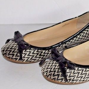 Enzo Angiolini Flats Black and White Fabric Size 6